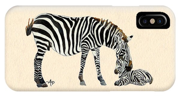 IPhone Case featuring the painting Plains Zebras Watercolor by Angeles M Pomata