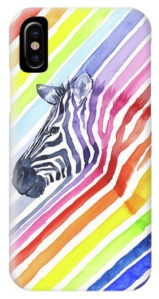 Zebra iPhone Case - Rainbow Zebra Pattern by Olga Shvartsur