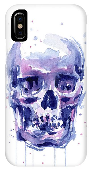 Skull iPhone Case - Skull Watercolor by Olga Shvartsur