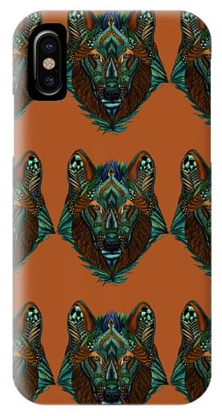 Zentangle Inspired Art- Wolf Colored IPhone Case
