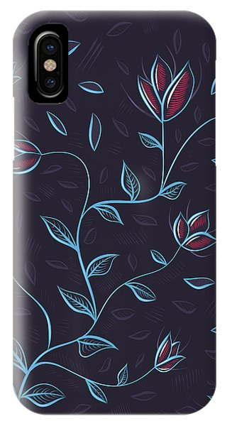 Glowing Blue Abstract Flowers IPhone Case
