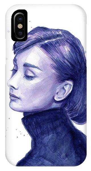 Actor iPhone Case - Audrey Hepburn Portrait by Olga Shvartsur
