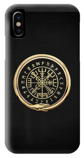 Vegvisir - A Magic Icelandic Viking Runic Compass - Gold On Black IPhone Case
