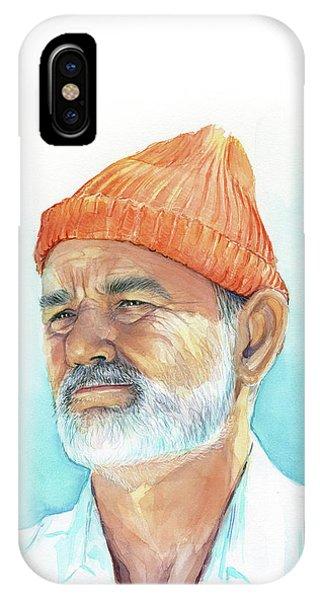Watercolor iPhone Case - Bill Murray Steve Zissou Life Aquatic by Olga Shvartsur