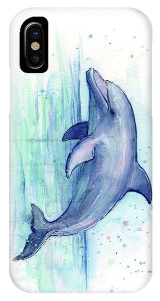 Sea Life iPhone Case - Dolphin Watercolor by Olga Shvartsur