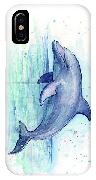 Dolphin iPhone Case - Dolphin Watercolor by Olga Shvartsur