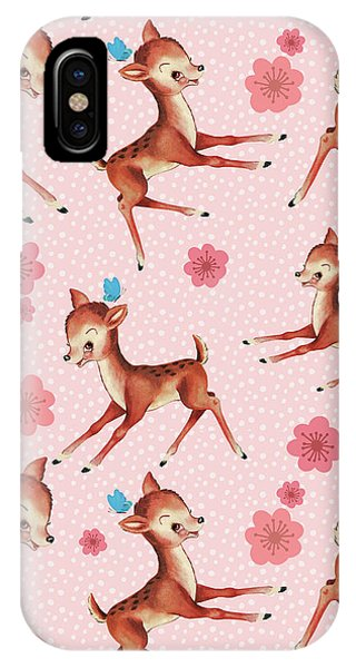 Pajama iPhone X Case - Playful Baby Deer Pattern by Tina Lavoie
