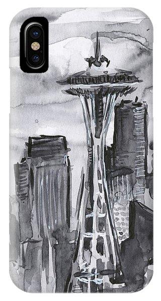 Washington iPhone Case - Seattle Skyline Space Needle by Olga Shvartsur