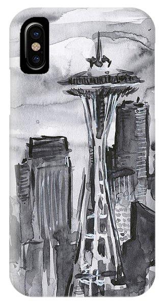 Black And White Art iPhone Case - Seattle Skyline Space Needle by Olga Shvartsur