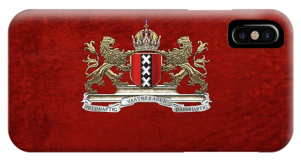 Holland iPhone Case - Coat Of Arms Of Amsterdam Over Red Velvet by Serge Averbukh