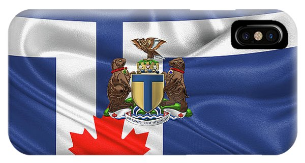 Patriotic iPhone Case - Toronto - Coat Of Arms Over City Of Toronto Flag  by Serge Averbukh