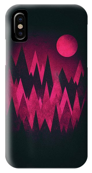 Illusion iPhone Case - Dark Triangles - Peak Woods Abstract Grunge Mountains Design In Red Black by Philipp Rietz