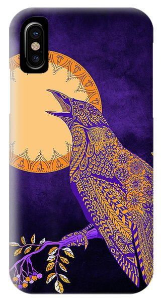 Raven iPhone Case - Halloween Crow And Moon by Tammy Wetzel