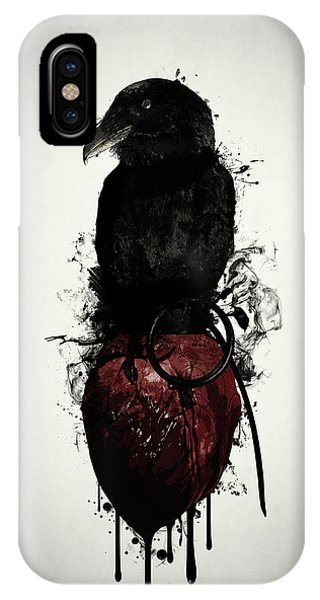 Ink iPhone Case - Raven And Heart Grenade by Nicklas Gustafsson