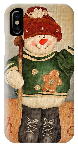 IPhone Case featuring the painting Snowman Junior by Angeles M Pomata