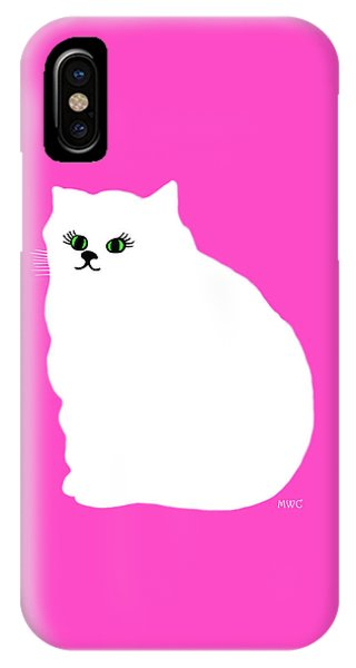 Cartoon Plump White Cat On Pink IPhone Case