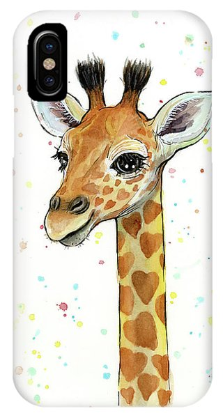Giraffe iPhone Case - Baby Giraffe Watercolor With Heart Shaped Spots by Olga Shvartsur