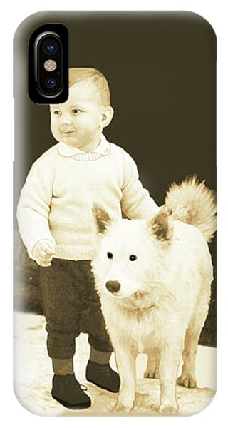 Sweet Vintage Toddler With His White Mutt IPhone Case