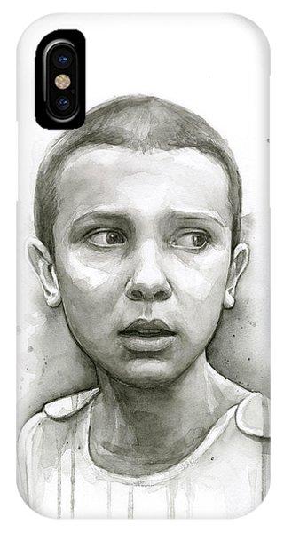 Science Fiction iPhone Case - Stranger Things Eleven Upside Down Art Portrait by Olga Shvartsur