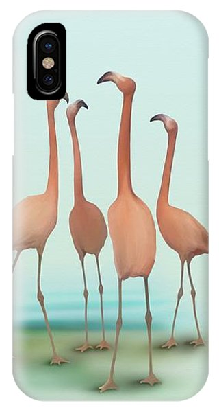 IPhone Case featuring the painting Flamingo Mingle by Ivana Westin