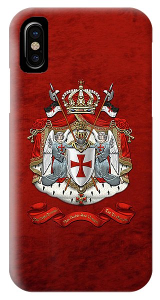 Knights Templar - Coat Of Arms Over Red Velvet IPhone Case