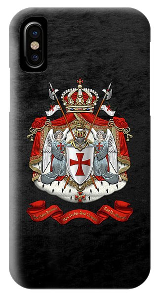 Knights Templar - Coat Of Arms Over Black Velvet IPhone Case