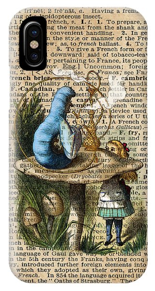Alice,mushroom And Jin,vintage Dictionary Art IPhone Case