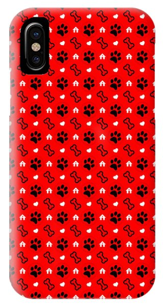 IPhone Case featuring the digital art Pawprints And Bones Pattern by Becky Herrera