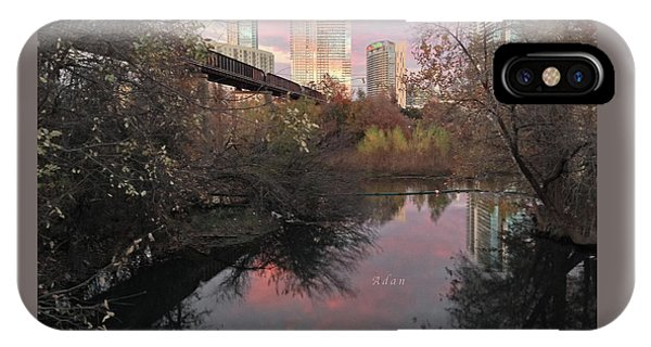 Austin Hike And Bike Trail - Train Trestle 1 Sunset Triptych Right IPhone Case