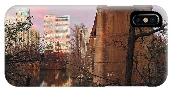Austin Hike And Bike Trail - Train Trestle 1 Sunset Triptych Middle IPhone Case