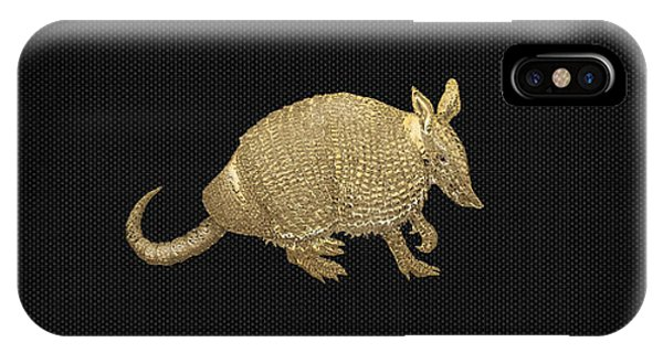 Pop Art iPhone Case - Gold Armadillo On Black Canvas by Serge Averbukh