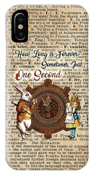 Alice And White Rabbit Vintage Dictionary Art Quote IPhone Case