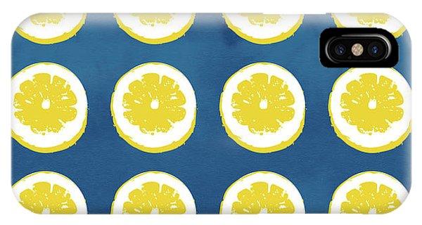 Kitchen iPhone Case - Sliced Lemons On Blue- Art By Linda Woods by Linda Woods