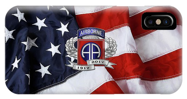 82nd Airborne Division 100th Anniversary Insignia Over American Flag  IPhone Case