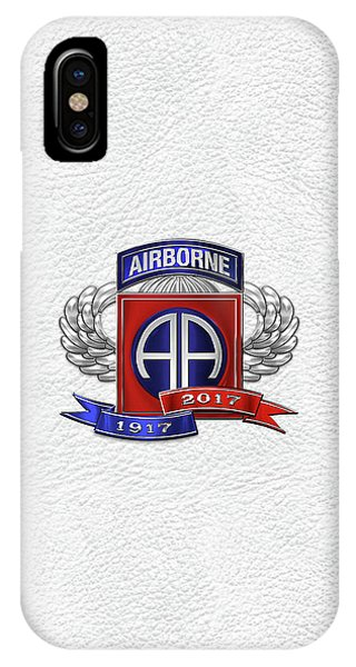 82nd Airborne Division 100th Anniversary Insignia Over White Leather IPhone Case