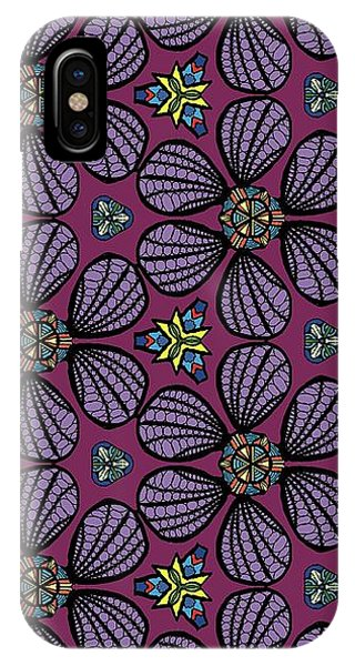 IPhone Case featuring the digital art Purple Flowers Pattern by Becky Herrera