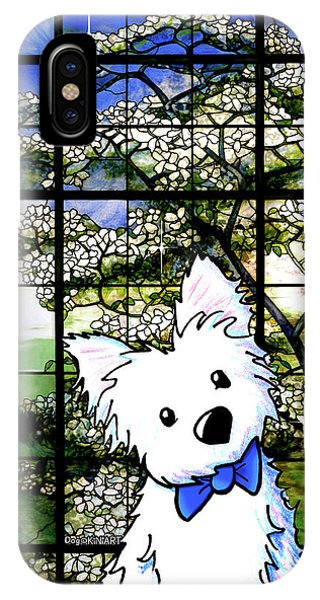 Westie At Dogwood Window IPhone Case