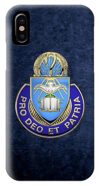 U. S. Army Chaplain Corps - Regimental Insignia Over Blue Velvet IPhone Case
