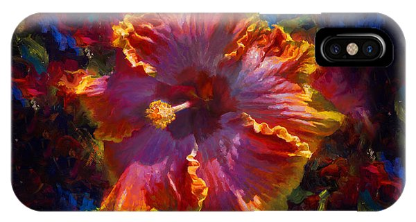 Rainbow Hibiscus Tropical Flower Wall Art Botanical Oil Painting Radiance  IPhone Case