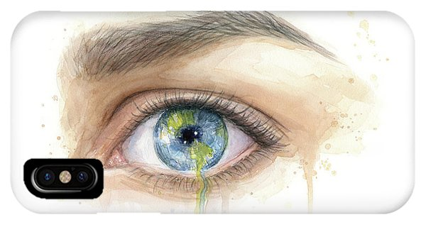 Solar System iPhone Case - Earth In The Eye Crying Planet by Olga Shvartsur