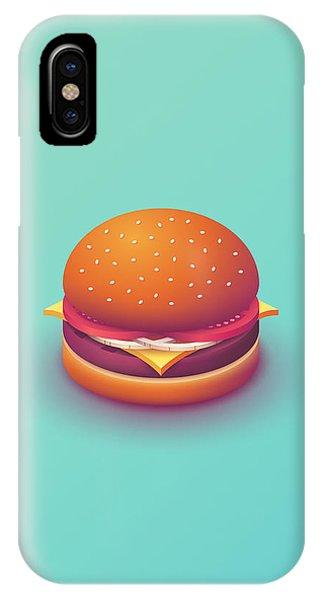Day iPhone Case - Burger Isometric - Plain Mint by Ivan Krpan