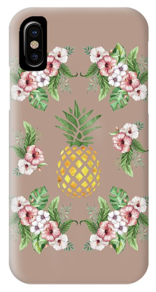 IPhone Case featuring the painting Exotic Hawaiian Flowers And Pineapple by Georgeta Blanaru