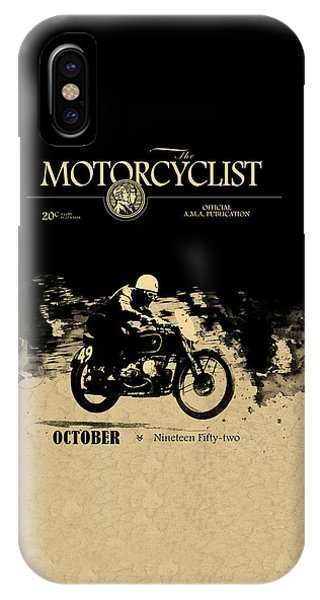 Magazine Cover iPhone Case - Motorcycle Magazine Bmw Racing Team 1952 by Mark Rogan