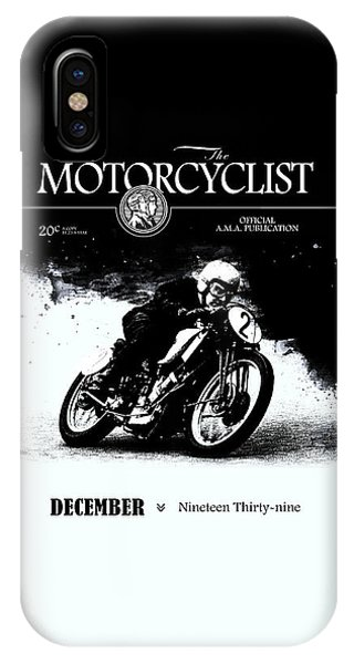 Magazine Cover iPhone Case - Motorcycle Magazine Racer Number Two 1939 by Mark Rogan