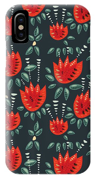 Dark Floral Pattern Of Abstract Red Tulips IPhone Case