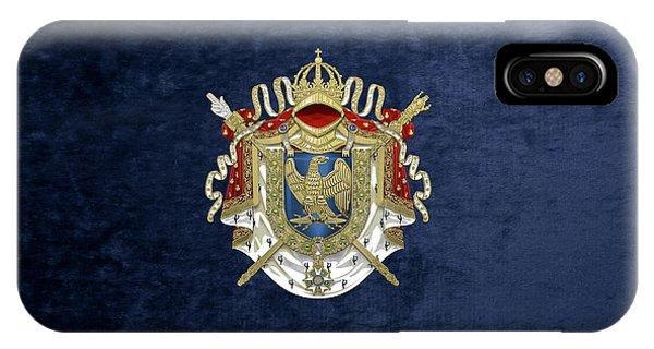 Greater Coat Of Arms Of The First French Empire Over Blue Velvet IPhone Case