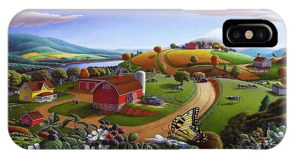 Folk Art Blackberry Patch Rural Country Farm Landscape Painting - Blackberries Rustic Americana IPhone Case