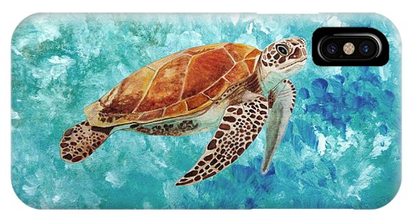 IPhone Case featuring the painting Turtle Swimming by Angeles M Pomata