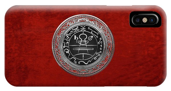 Supply iPhone Case - Silver Seal Of Solomon - Lesser Key Of Solomon On Red Velvet  by Serge Averbukh