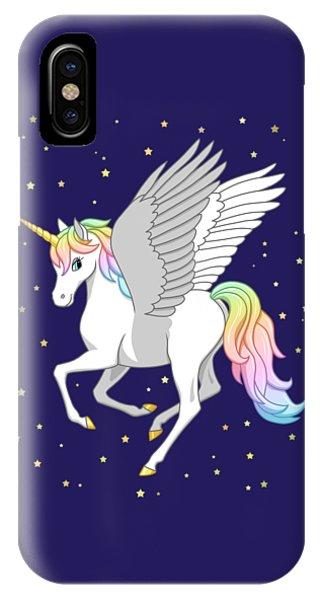 Pretty Rainbow Unicorn Flying Horse IPhone Case